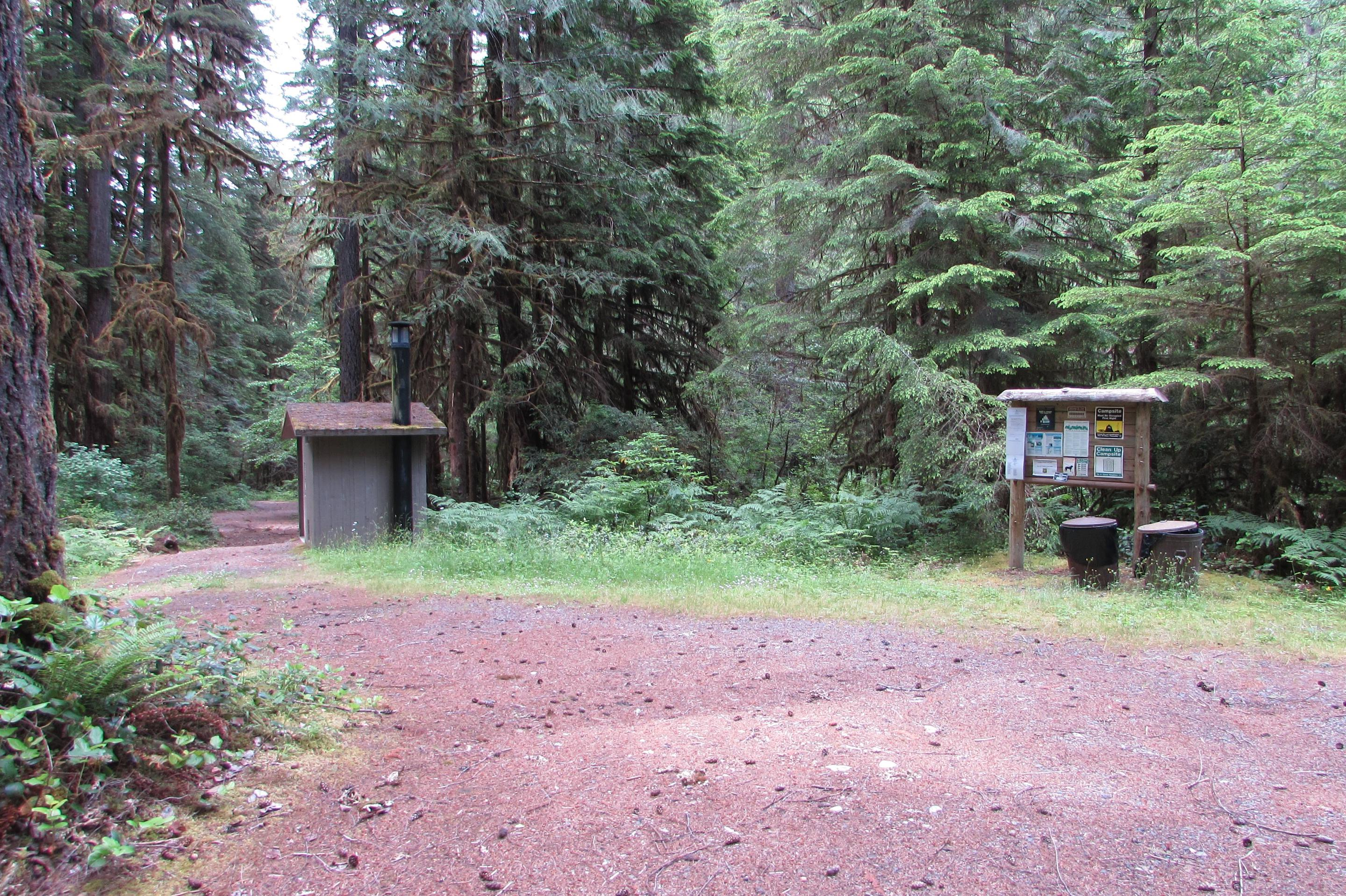 Info board and toiletCampsites at the East side of the campground have their own information board and vault toilet
