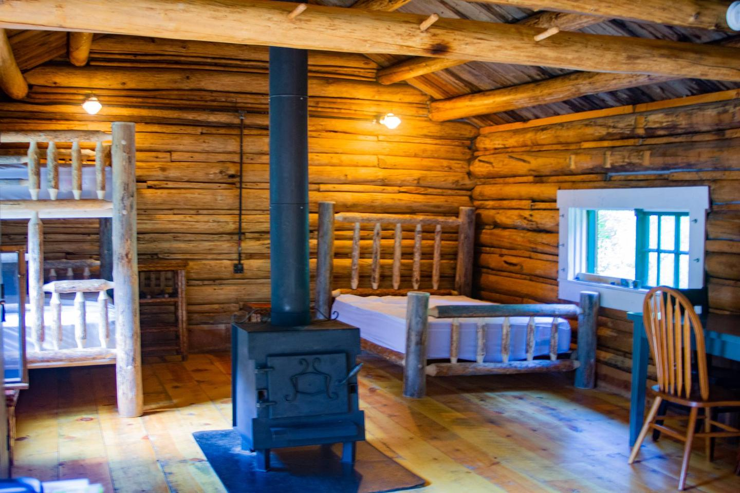 sleeping areabeds with wood stove