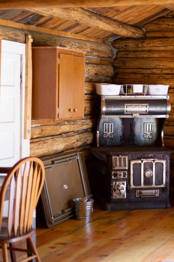 antique stoveold cook stove next to back door