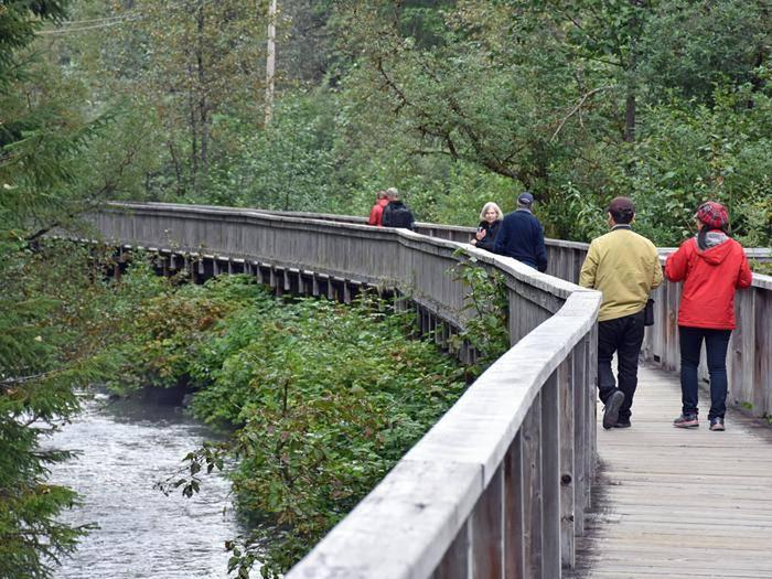 Visitors walk along the boardwalk at Fish Creek.