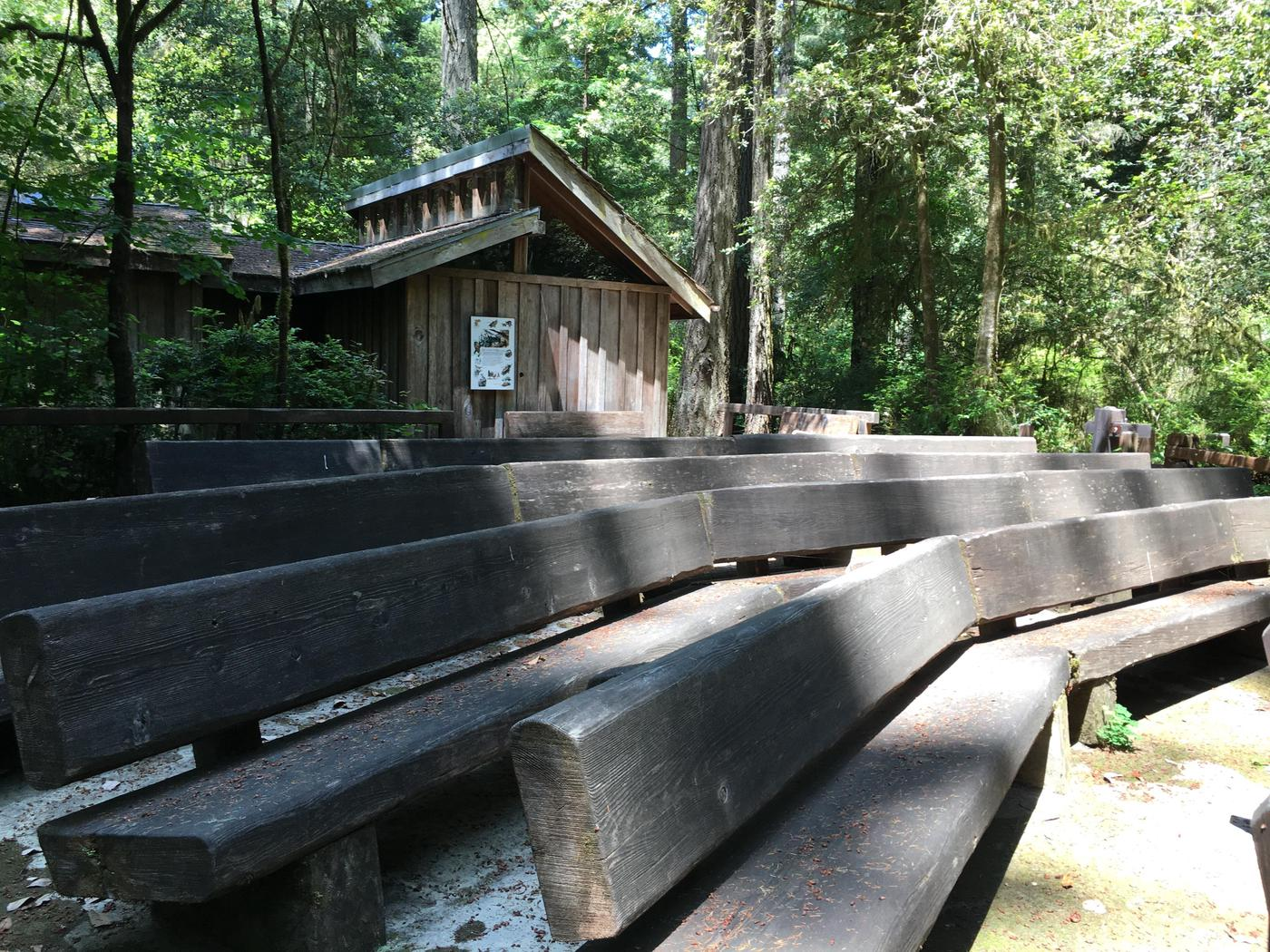 Jedediah Smith Visitor Center and amphitheater.Summer campers and hikers enjoy this quaint location for retail and ranger programs.