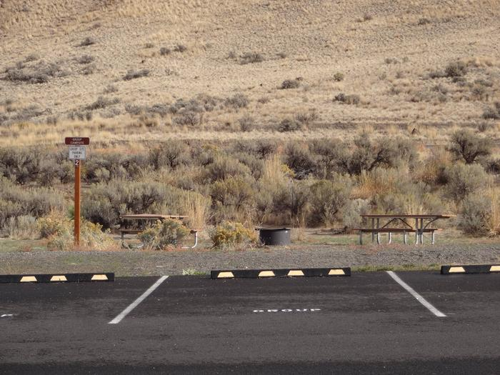 2 picnic tabled, fire ring and 2 parking spots at Big Pines Group Campsite EBig Pines Group Campsite E