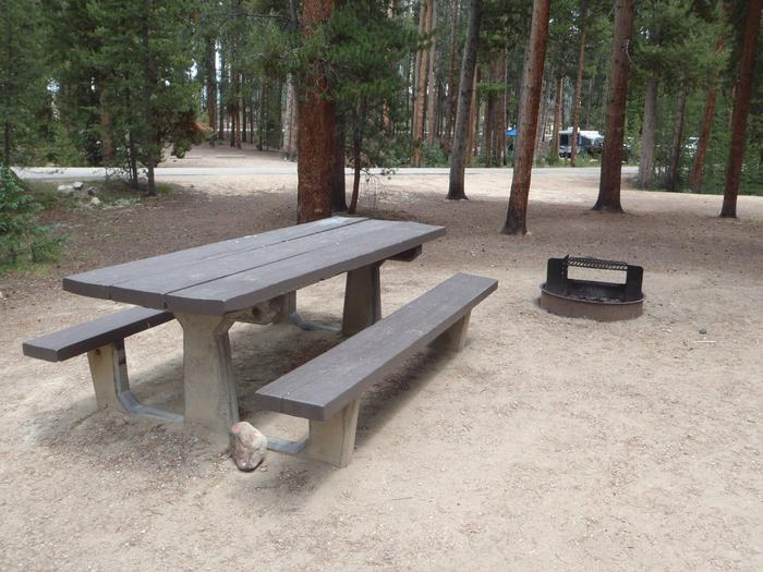 Molly Brown Campground, site 28 picnic table and fire ring 3