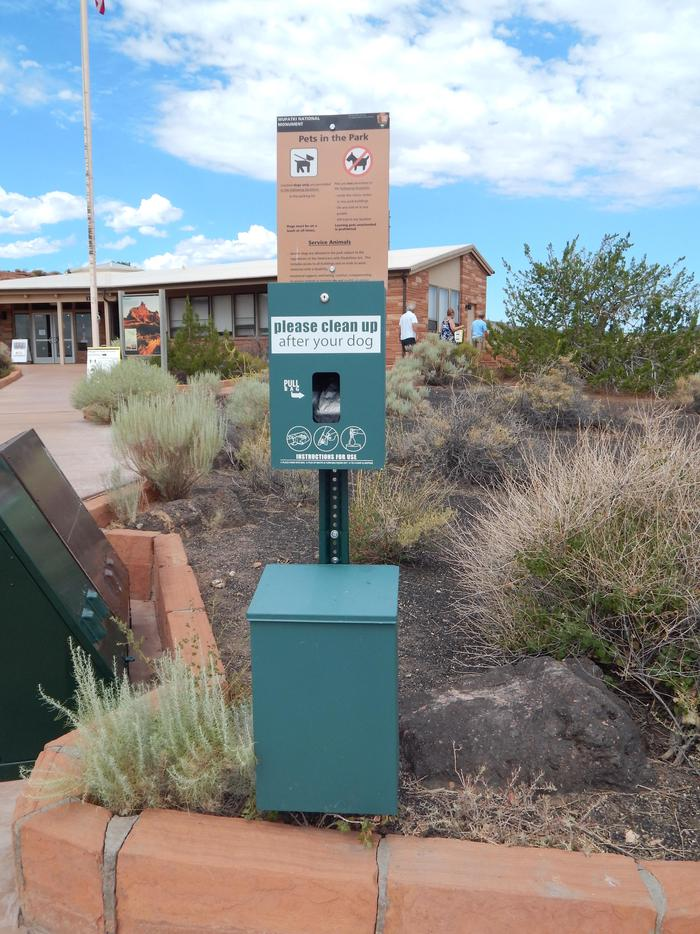 Pet Waste StationOnly service animals are allowed on trails. Pets can be exercised in any parking lot. Pet waste bags are available in front of the Visitor Center.