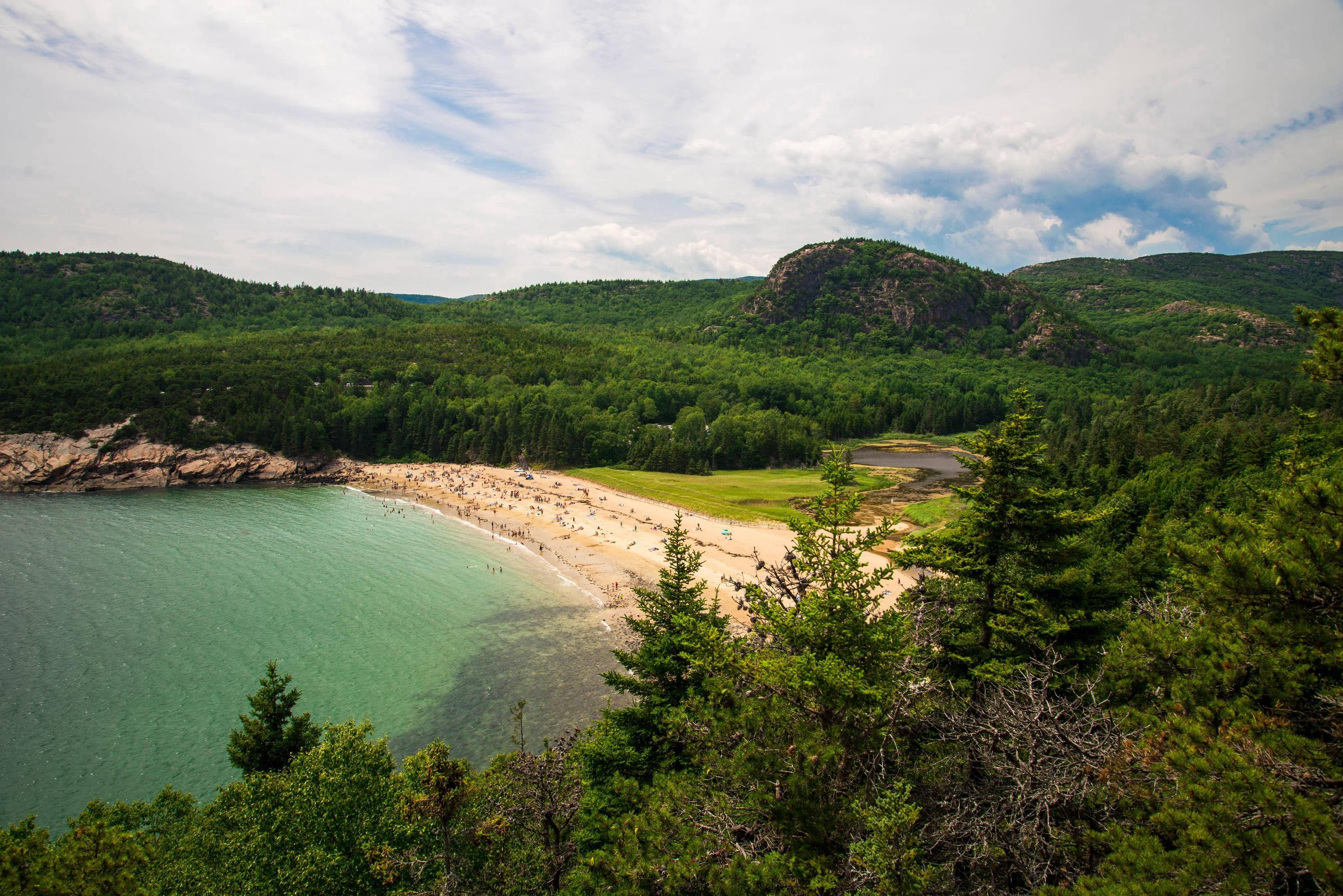Wide beach with clear ocean waters surrounded by trees, rocky coastline, and mountainsView of Sand Beach from the Great Head Trail.