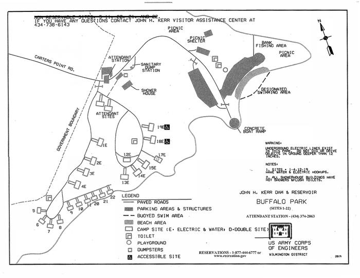Buffalo Park Campground MapThis is the Buffalo Park Campground Map. This map shows approximately where each campsite is at as well as other amenities such as the boat ramp and with swimming area!