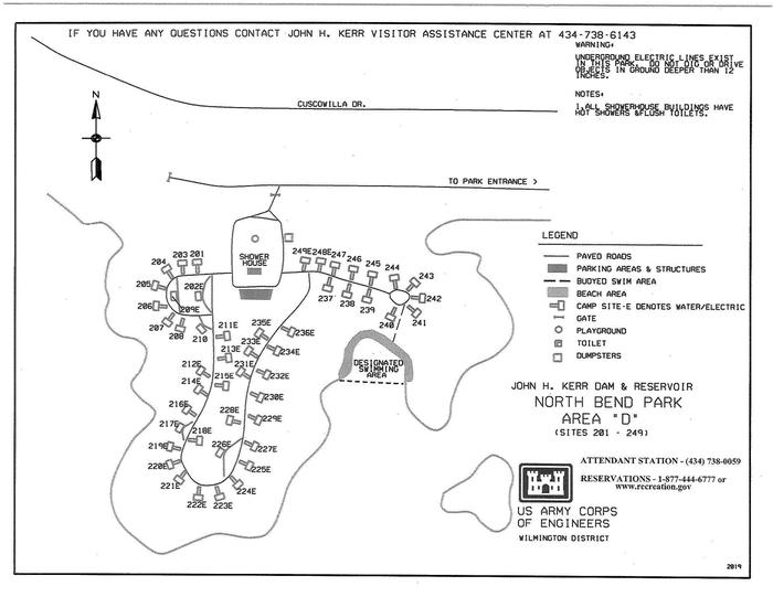 North Bend Area D Campground MapThis map is specifically for area D in North Bend Park. This map shows the approximate locations of each campsite as well as other amenities such as the designated swimming area and the restrooms.