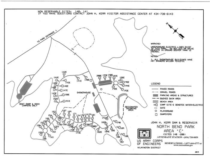 North Bend Area C Campground MapThis map is specifically for area C in North Bend Park. This map shows the approximate locations of each campsite as well as other amenities such as the designated swimming area and the restrooms.