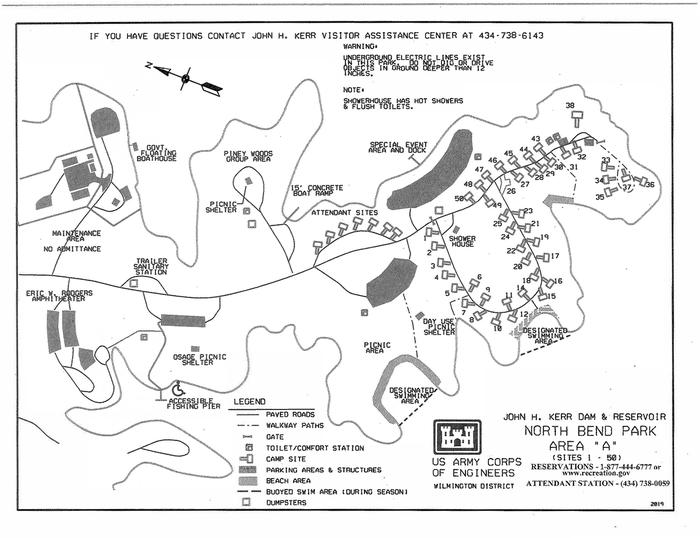 North Bend Area A Campground MapThis map is specifically for area A in North Bend Park. This map shows the approximate locations of each campsite as well as other amenities such as the designated swimming area and the restrooms.
