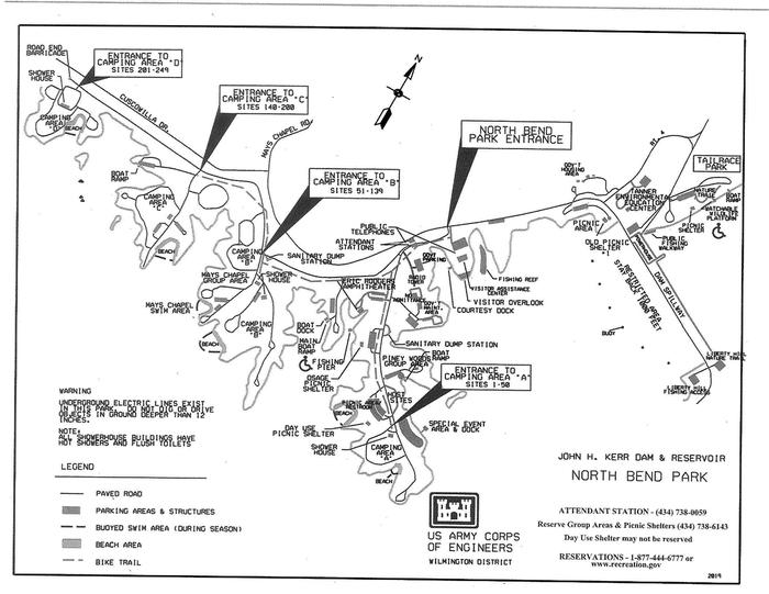 North Bend Campground MapThis map is showing North Bend Park as a whole. This map shows the approximate location of each entrance to each camping loop. This map also shows other locations such as the Visitors Assistance Center and the Tanner Center.