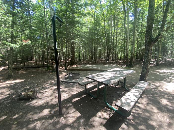 Tent pad, fire ring, picnic table and lantern pole.