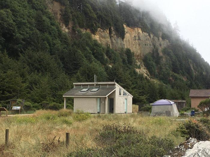 Gold Bluffs Beach restrooms.Basic facilities are located at this cliff-side campground.