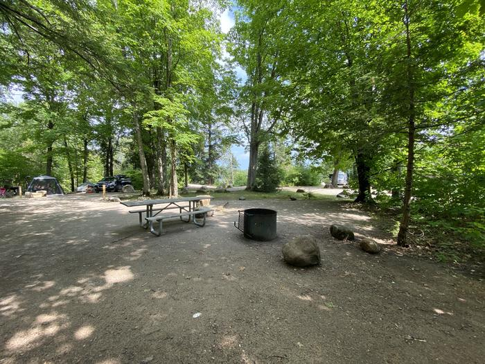 Tent pad, accessible fire pit and picnic table