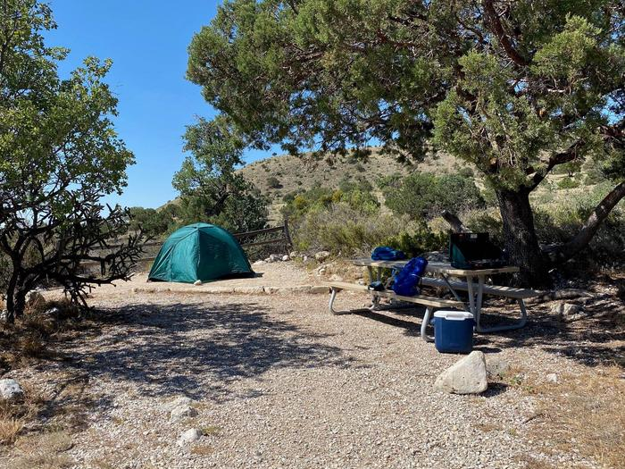 Tent campsite number two shown with a two-plus person tent and viewed from entry path.