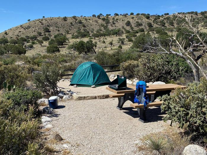 Tent campsite number three shown with a two-person tent on tent pad.