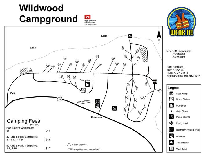 Wildwood Park MapWildwood offers 29 electric sites and 1 non-electric site.