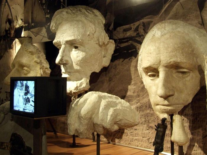 Plaster Models Inside the Exhibit HallPlaster models of Thomas Jefferson, Abraham Lincoln and George Washington on display in the Exhibit Hall inside the Lincoln Borglum Visitor Center. These models could be suspended on the mountain for the carvers to reference while working.