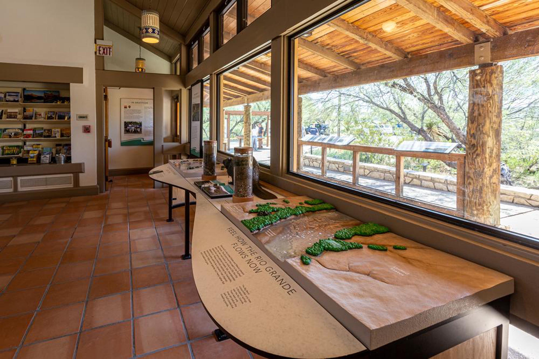 Rio Grande Village Visitor Center exhibitsRio Grande Village Visitor Center exhibits highlight the park's river habitats and management activities.