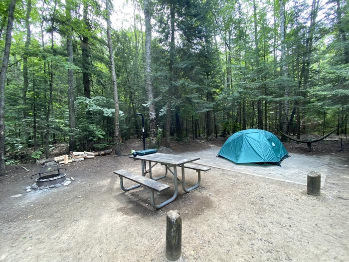 Tent pad, picnic table, fire ring and lantern pole