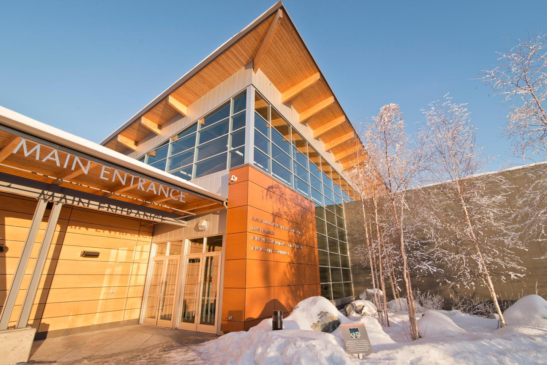 Morris Thompson Cultural & Visitors Center Entrance in WinterEntrance of the Morris Thompson Cultural & Visitors Center in winter.