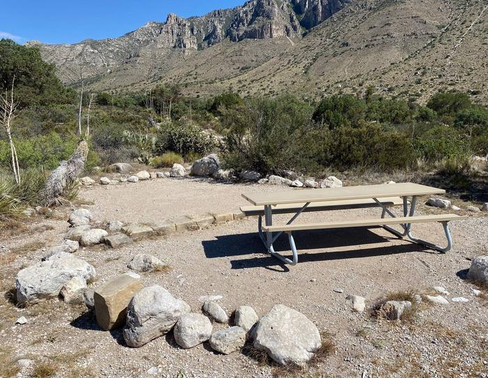 Tent campsite number nine, with Guadalupe Mountains in background and desert vegetation surrounding site.