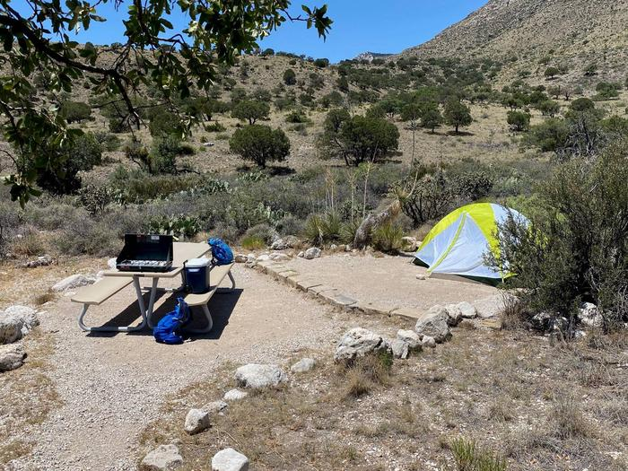 Tent campsite number nine shown with a two-person tent on the tent pad, viewed from walking path.Tent campsite number nine shown with a two-person tent on the tent pad.