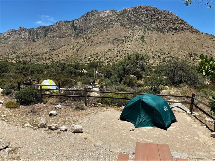 Tent campsite number 10 with panoramic view of the Guadalupe Mountains and Hunter Peak. Campsite 11 backs to this site.Tent campsite number 10 with panoramic view of the Guadalupe Mountains and Hunter Peak.  Campsite 11 backs to this site.