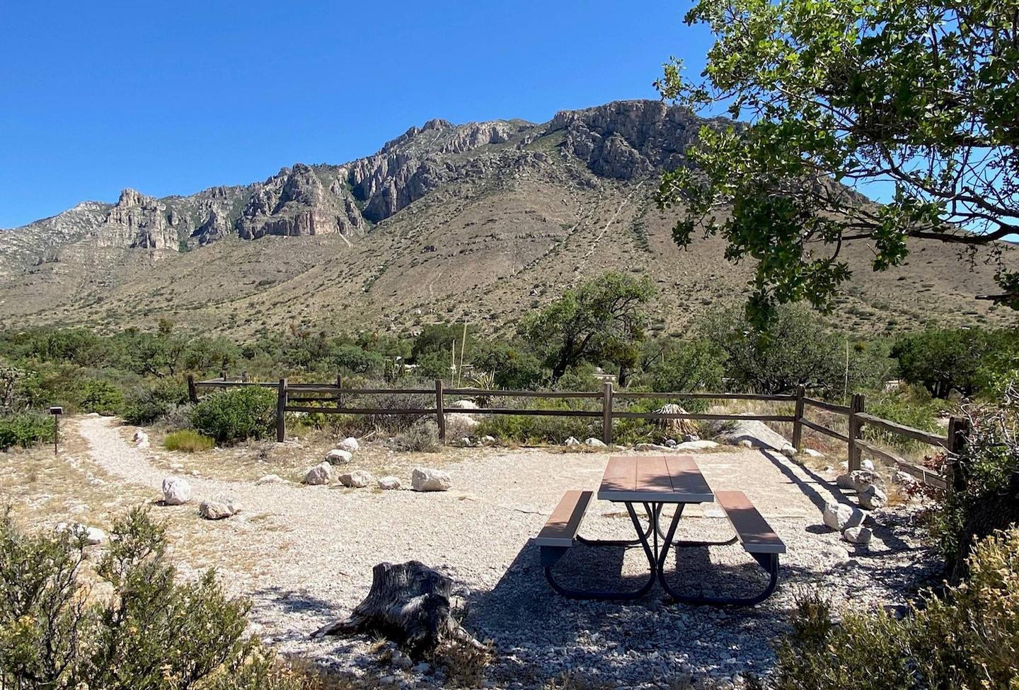 Tent campsite number 10 looking from the west side of site.  Walking path shown from the left side of the photo.  Panoramic views of the Guadalupe Mountains.Tent campsite number 10 looking from the west side of site.  Walking path shown from the left of the photo.  This site has panoramic views of the mountains, basin and canyon.