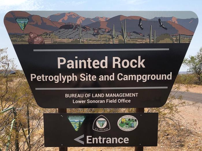 Entrance Portal SignWelcome to the Painted Rock Petroglyph Site and Campground!