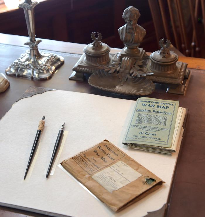 Theodore Roosevelt's Roosevelt's LibraryWorld War I-era papers on Theodore Roosevelt's library desk