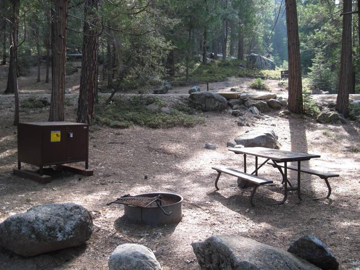 Food locker, picnic table, and fire ringSite 36