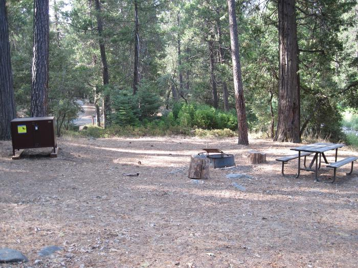 Food locker, picnic table, and fire ringSite 38