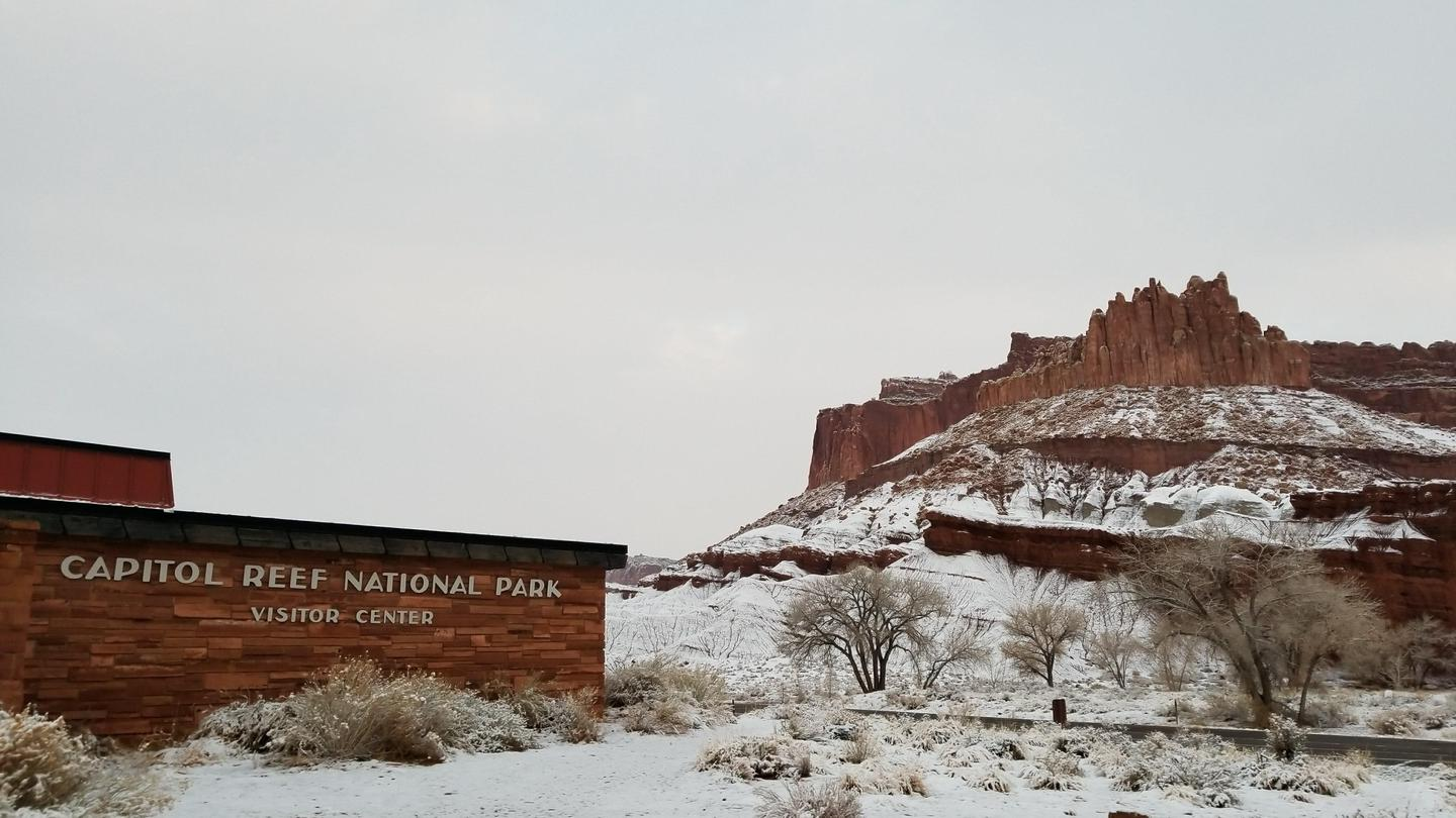 Capitol Reef National Park Visitor CenterCapitol Reef Visitor Center after a snowfall