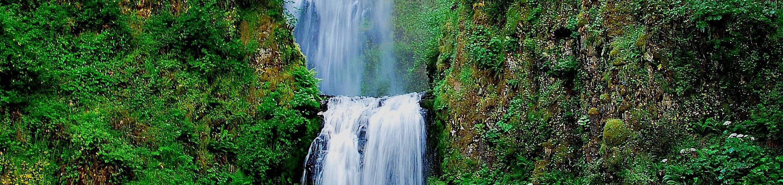 Multnomah Falls along the Historic Columbia Falls RiverImage of Multnomah Falls
