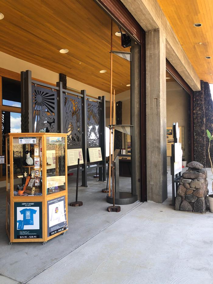 Open Air Lanai at Visitor CenterHPPA display case and historical information in the outside open lanai area.