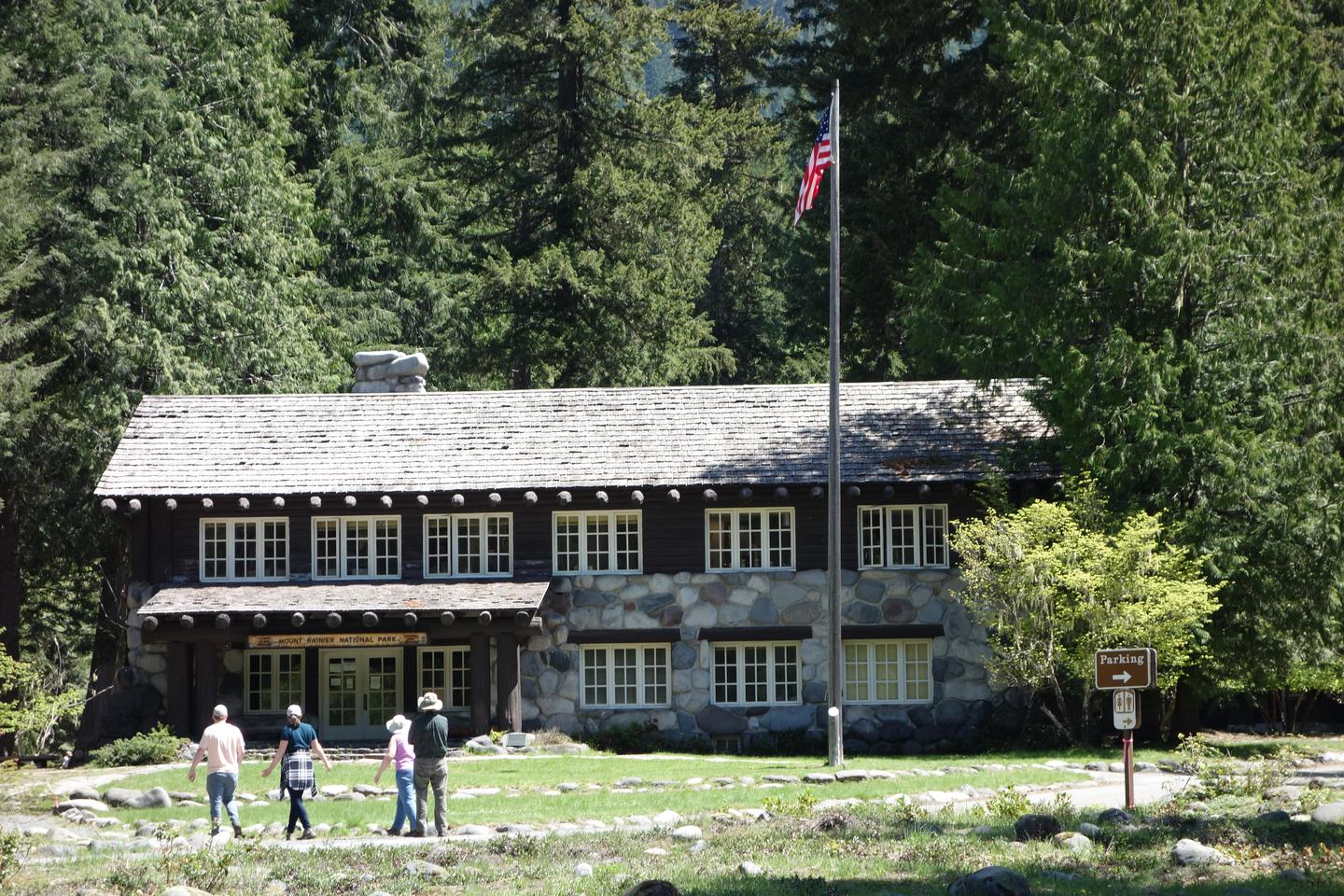 Longmire Administration Building in SummerThe Longmire Wilderness Information Center is located inside the lobby of the historic Longmire Administration Building.