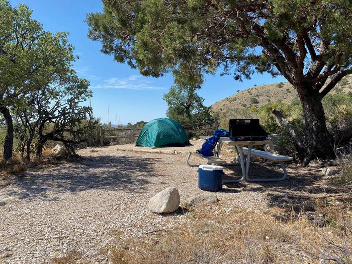 Campsite number two with a two-plus person tent shown on tent pad.