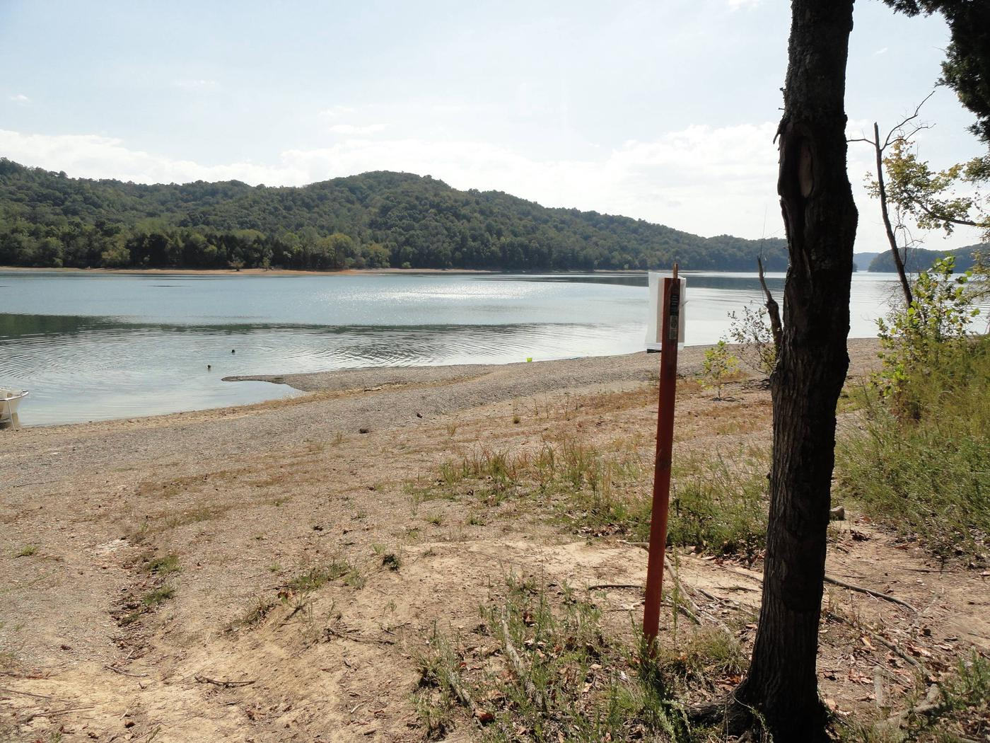 DALE HOLLOW LAKE - PRIMITIVE CAMPING SITE MARKER WITH SHORELINE VIEW