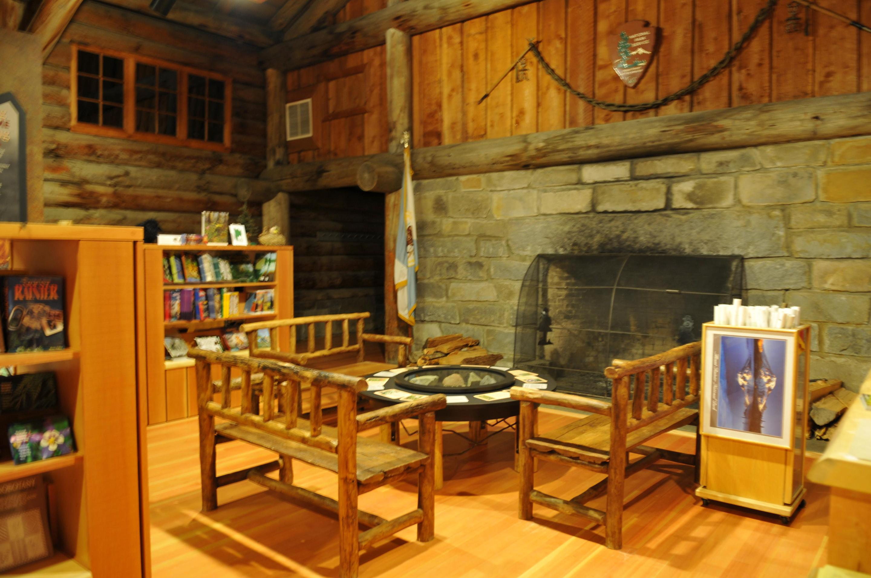 Sunrise Visitor Center FireplaceEnjoy the rustic building and massive fireplace while browsing the bookstore or relaxing on a bench.