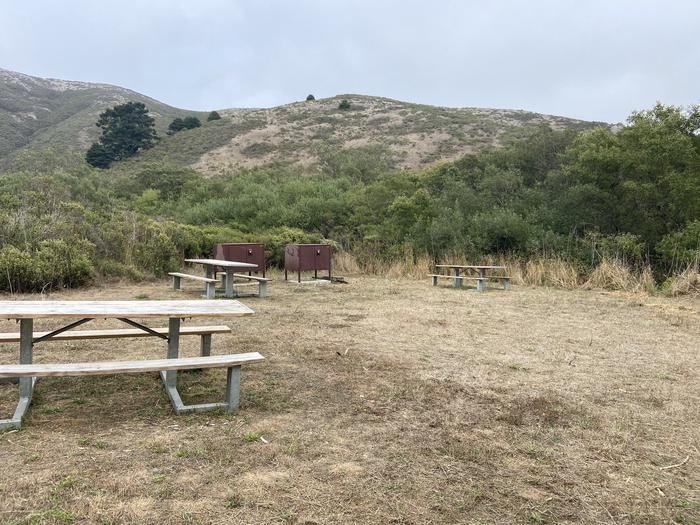 Group Site, with three picnic tables and two food lockers.