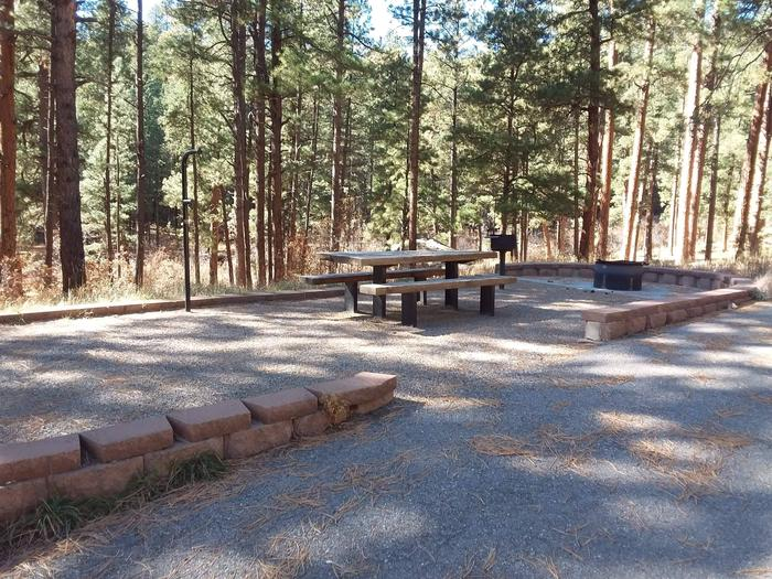 Site 9 provides rock walls alongside its picnic table , fire pit and grill.Site 9