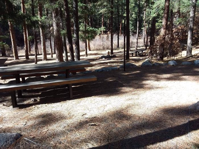 Site 14 accommodates more campers with its two picnic tables and provides shade.Site 14