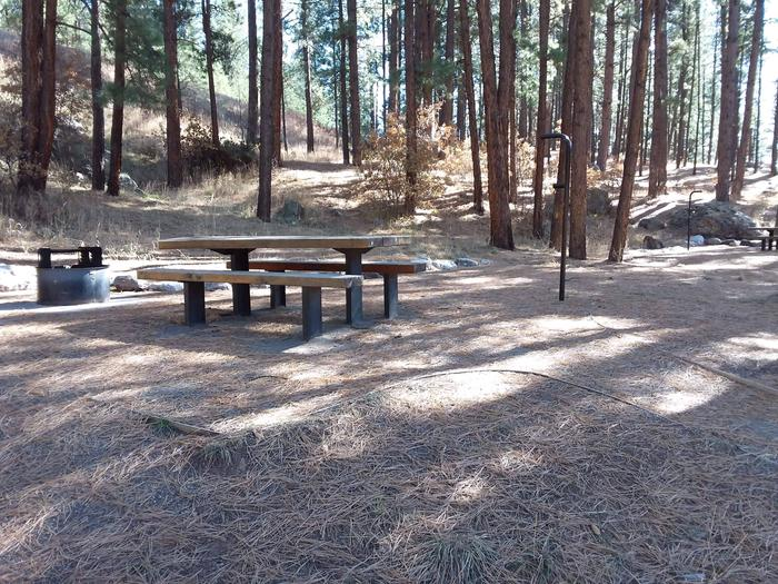 Picnic table, lantern posts and a grill are provided at site 27.Site 27
