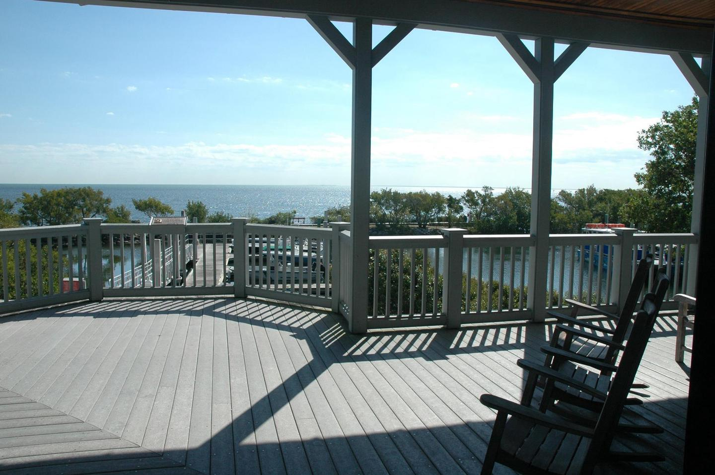 View from the Visitor Center PorchRelax and enjoy the panoramic view of Biscayne Bay while sitting in one of the rocking chairs on the porch.