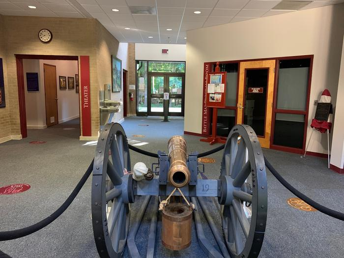 Visitor Center Lobby and 3 pounder cannonLearn about the artillery of the battle in our Visitor Center