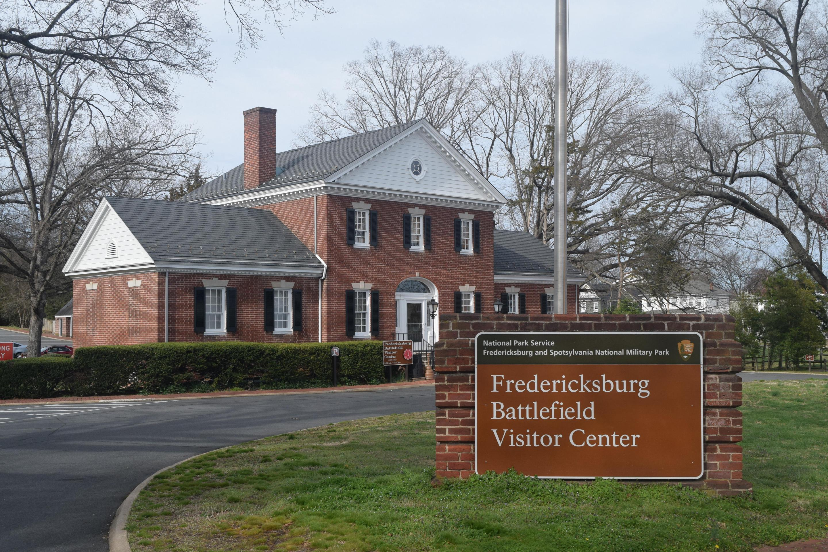 Fredericksburg Visitor Center, with signCome inside the Fredericksburg Battlefield Visitor Center for orientation, exhibit, and the park film.