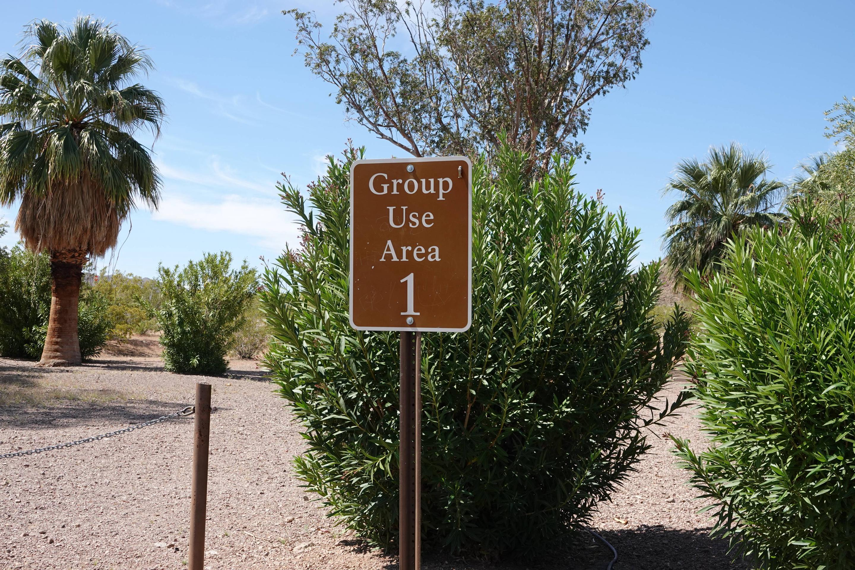 Campsite sign 1 located in a desert settingBoulder Beach Group Site 1