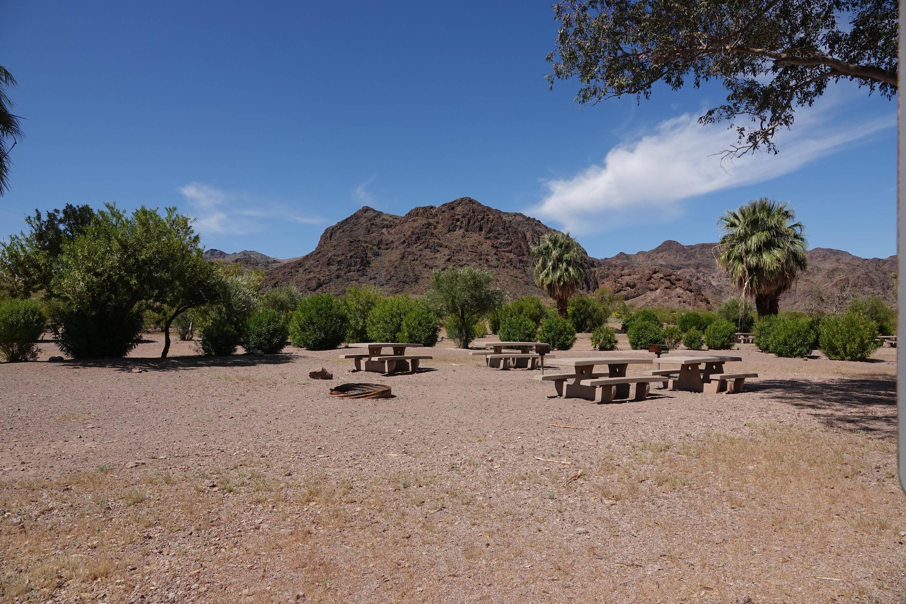 Open Campsitewith tables located in a desert settingBoulder Beach Group Site 2