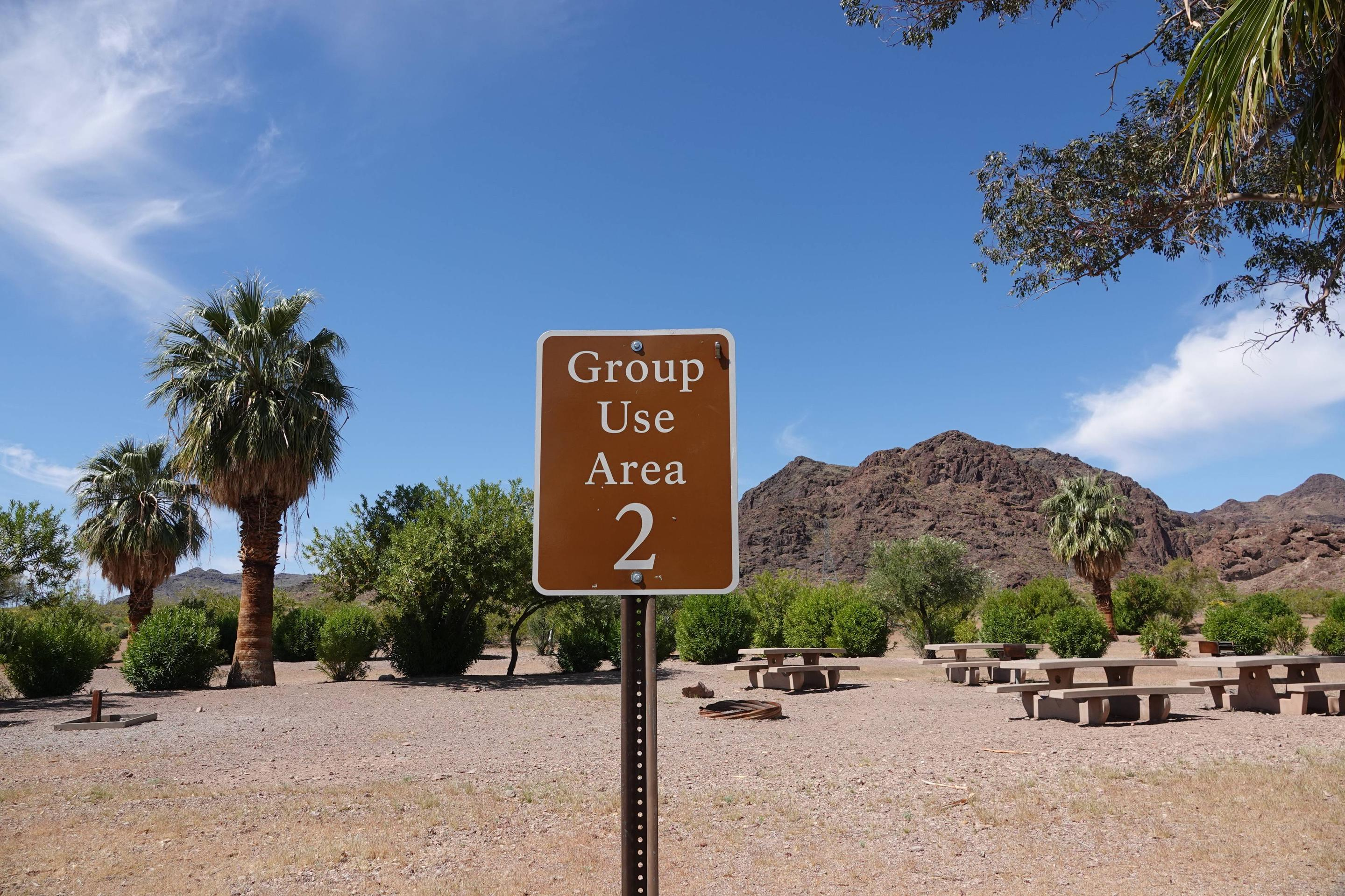 Campsite 2 sign located in an open desert settingBoulder Beach Group Site 2