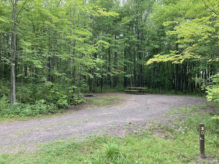 Site 30 gravel spur, picnic table and fire ring Site 30